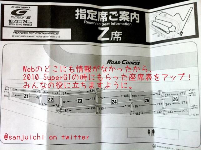 ツインリンクもてぎのZ席の座席指定の座席表